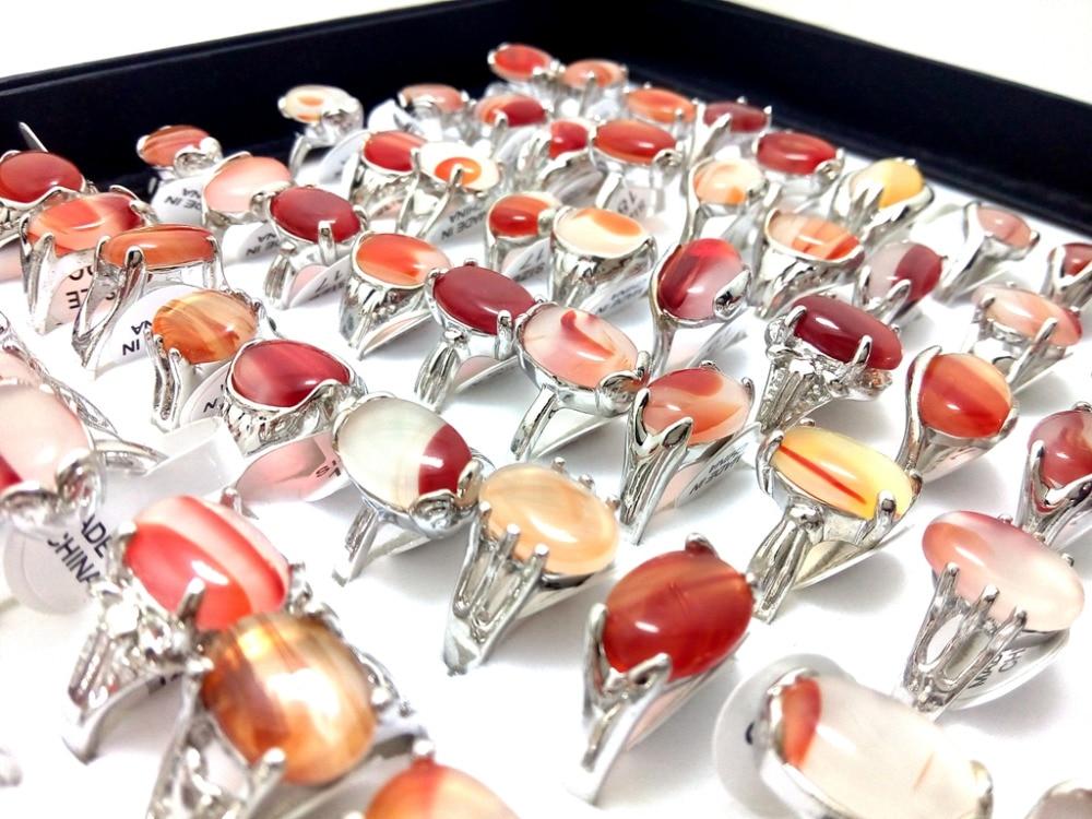 Takı ve Aksesuarları'ten Halkalar'de 100 adet Marka Karışık Stil Doğal Taş Gümüş Kaplama Kadın Yüzük Moda Kadın Yüzük Toptan Takı Toplu Sürü'da  Grup 2