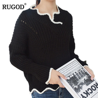RUGOD Slash Neck Solid Hollow Women S Sweater Knitted Long Sleeve Pullover Women 2018 Autumn Winter