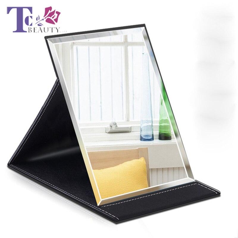 Espelhos HD Dobrável Espelho de Maquiagem de Couro PU Senhoras Portátil Desktop Do Escritório Dormitório Simples Espelho de Bolso Portátil Dobrável
