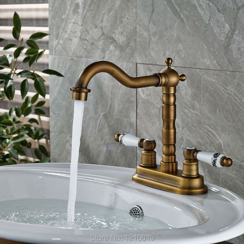 Newly Deck Mount Bathroom Sink Faucet Dual Ceramic Handles Antique Brass Basin Faucet Mixer Tap адаптер питания для ноутбука pitatel ad 185