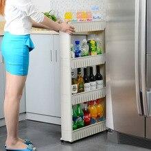 Многоцелевой Полка со Съемными Колесами трещина стойки Ванная Комната Хранения Стеллаж Для Хранения Полка многослойная холодильник боковая полка