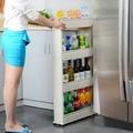 Polivalente Estante con Ruedas Extraíbles grieta refrigerador estante de Almacenamiento de Baño Estante de Almacenamiento Multi-capa estante lateral