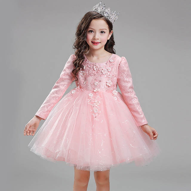 Top Quality Sequin Red White Pink baby girls 1 year old birthday dress long 256f4621c0ac