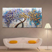 Handmade Modern Abstract Landscape Canvas Oil Paintings Wall Art Golden Tree Pictures For Living Room Christmas Home Decor