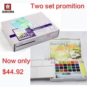 Deux set promotion Sakura 24 couleurs aquarelle boîte de peinture et Sakura mini18 couleurs aquarelle boîte solide petit aquarelle