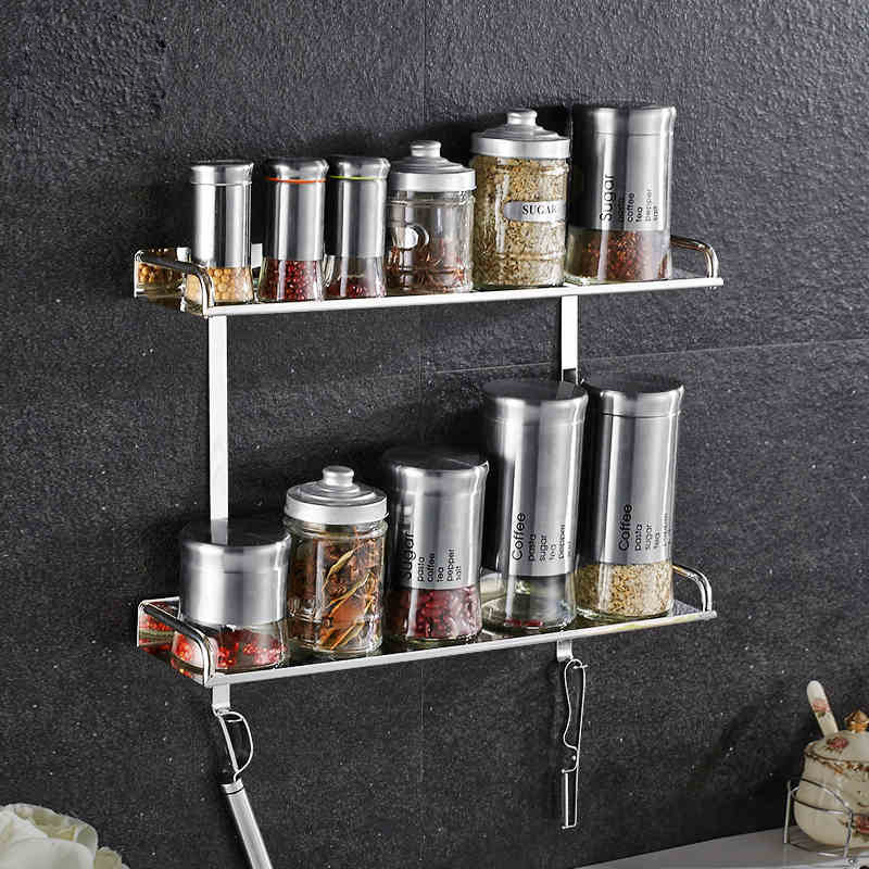 Wall Mounted Kitchen Bathroom Racks For Cooking Utensil Tools Pot Bottle Shampoo Shower Gel SUS304 Stainless Steel Shelf Storage