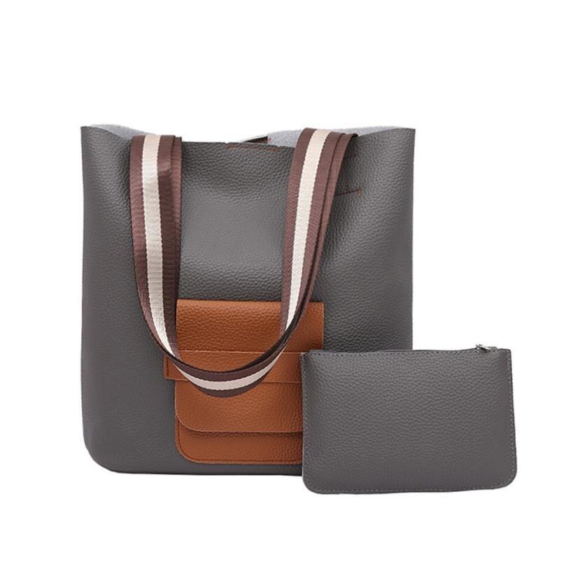 Bucket Bag Women Panelled Wide Strap Shoulder Bag Qualited Vintage Handbag Large Capacity Shopping Bag Bolsas Feminina @6103