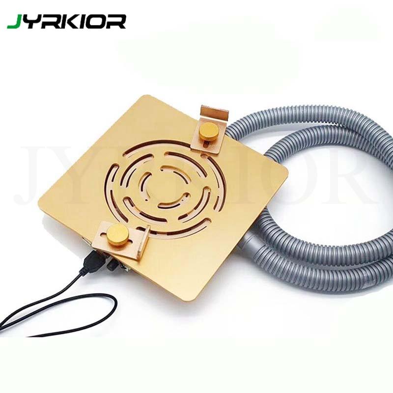 Jyrkior universel 360 degrés Rotation fumer ventilateur luminaire radiateur Base de refroidissement pour téléphone carte mère plate-forme de réparation