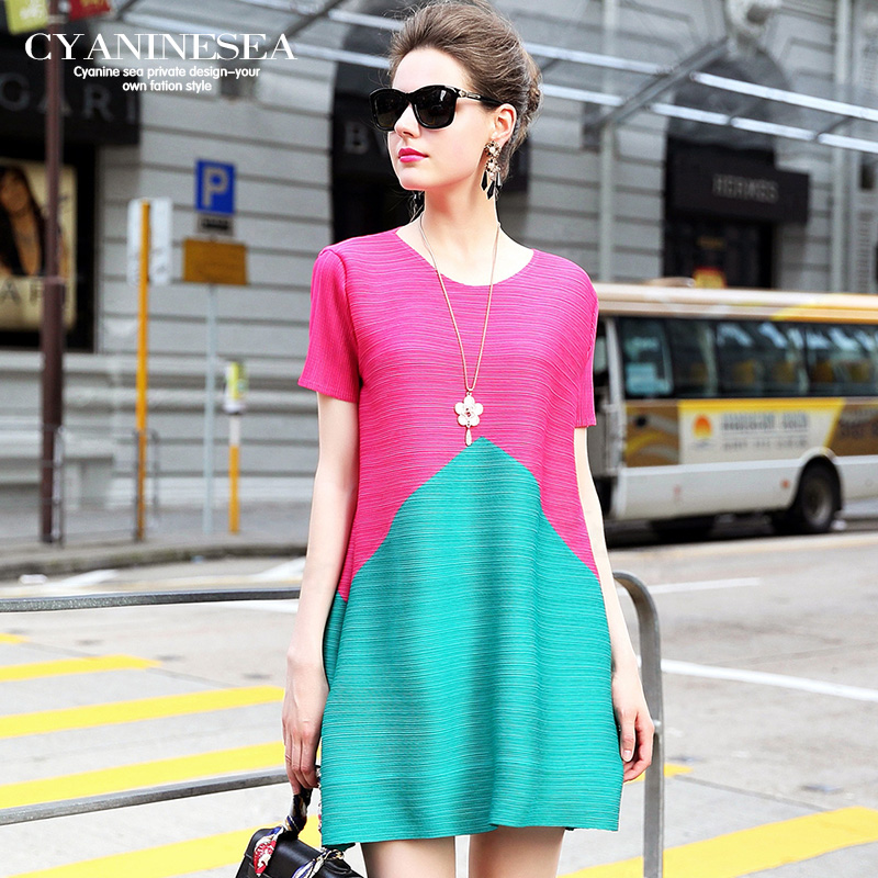 Mode 2016 colorant match a-ligne taille s'adapte à tous lâche confortable élégant une pièce robe femme livraison gratuite