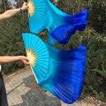 """1 пара ( левый + правый ) 100% чистый натуральный шелк танец живота вентилятор покрывал бирюзовый / синий 1.8 м = 71 """" бесплатная доставка высокое качество танца вентиляторы"""