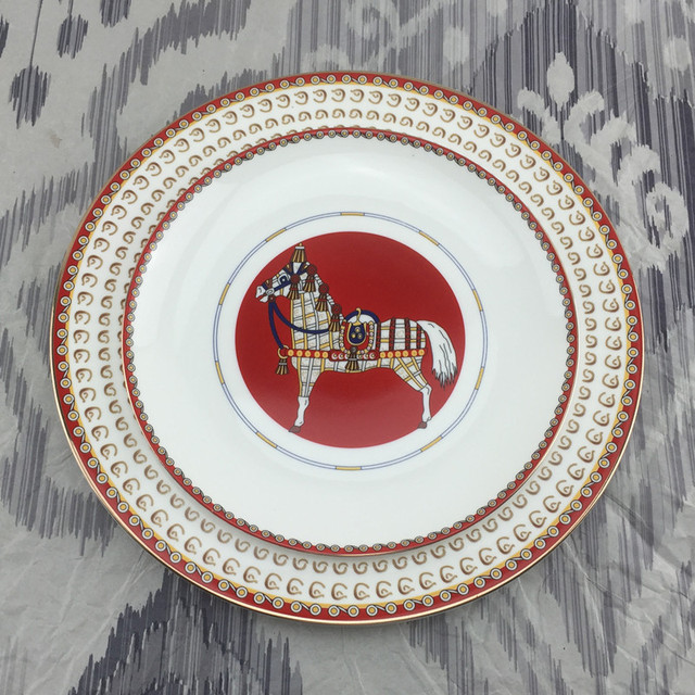 Superbe European Style American Room Club House Restaurant Dining Table  Western Style Dish Set Red