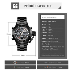 Image 5 - SKMEI יוקרה גברים של קוורץ הדיגיטלי שעון ספורט שעונים עמיד למים זכר שעוני יד 2 זמן הכרונוגרף שעון Relogio Masculino 1515