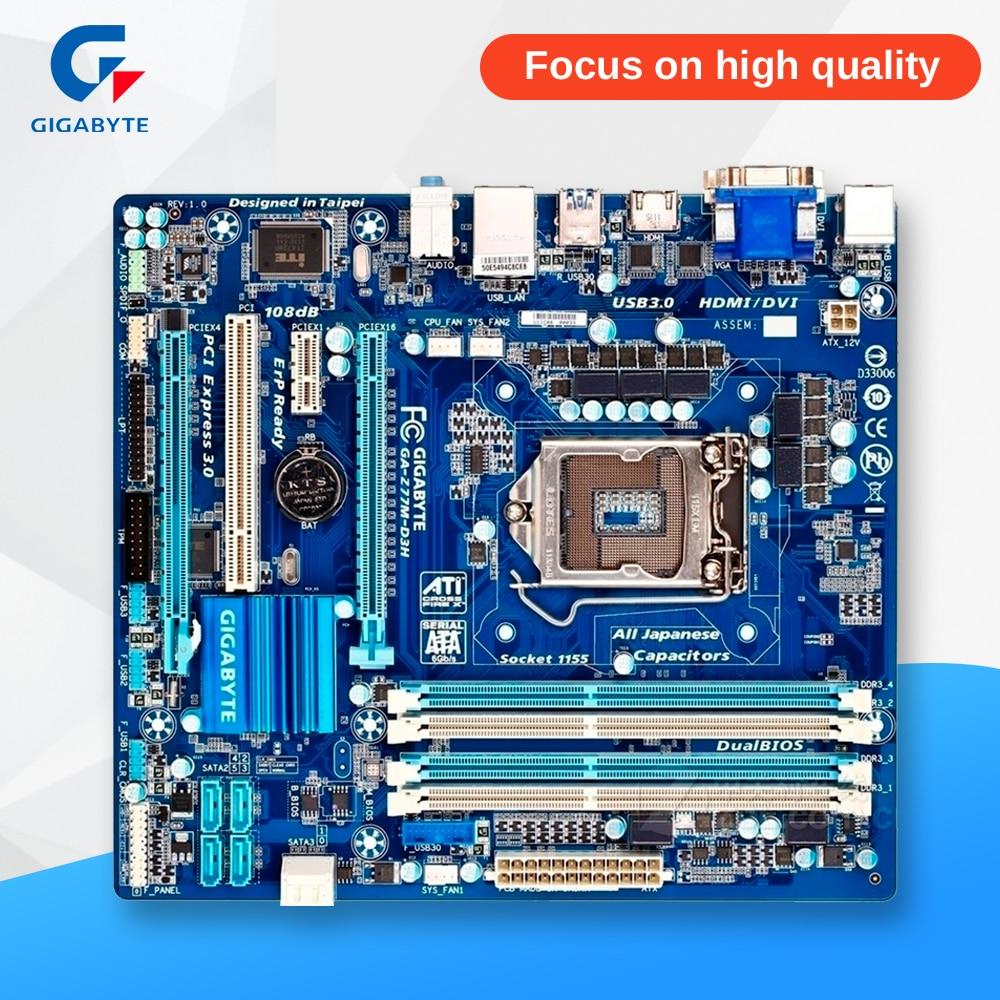 Gigabyte GA-Z77M-D3H Original Used Desktop Motherboard Z77M-D3H Z77 LGA 1155 i3 i5 i7 DDR3 32G SATA3 Micro-ATX asrock z77 oc formula original used desktop motherboard z77 socket lga 1155 i3 i5 i7 ddr3 32g usb3 0 e atx