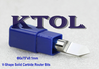 6*0.1mm*75 Angle V-Shape Engraving Tools CNC Wood Carving Bit Endmill, 10pc/set Carbide Router Bit Wood End Mills CNC PCB Cutter