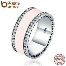 Bamoer стерлингового серебра 925 Радиант сердца и светло-розовый эмаль Ясно CZ Wide Band Кольцо для Для женщин Свадебные украшения подарок PA7624