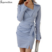 Soperwillton 2018 Sexy Sashes Long Sleeve Women Office Dress  Elegant Work Wear Dresses Women Sheath Bodycon Dress Vestido #BD7