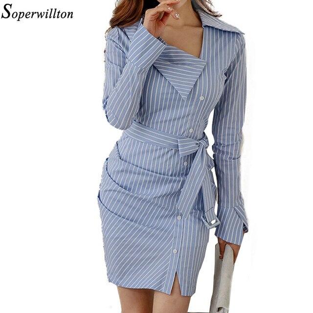 5e51a7904665 Soperwillton 2019 Sexy Sashes Long Sleeve Women Office Dress Elegant Work Wear  Dresses Women Sheath Bodycon Dress Vestido  BD7