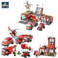 Kazi 4 estilo fuego lucha serie camión de bomberos de la ciudad helicóptero de bomberos ladrillos de construcción bloques juguetes para niños 8051 8052
