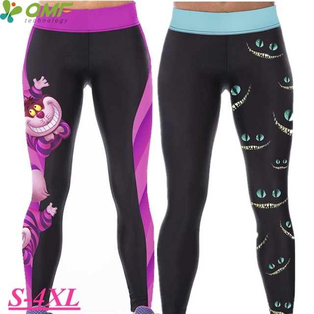 bbdd7300f42f0 Alice In Wonderland Yoga Pants Workout Running Leggings Rose Red Cheshire  Cat Fitness Tights Black Grin Cat Sports Trouser Women