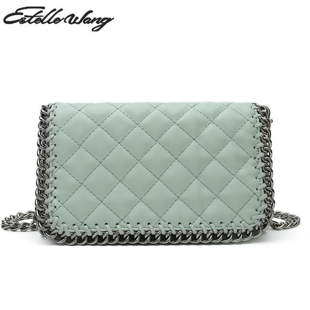 Estelle Wang Small Flap Shoulder Bags Single Fashion Women Plaid Hasp  Crossbody Bag Chain Pocket Versatile Plaid Handbag Pink 5687dd87c4f1