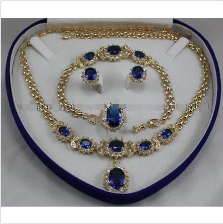 Wholesale price 16new ^^^^Real Blue Zircon Inlay Link Bracelet earrings Ring Necklace Set vintage alloy rhinestone inlay embellished necklace earrings set