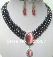 3ROW BLACK PEARL Pink OPAL PENDANT NECKLACE EARRING set