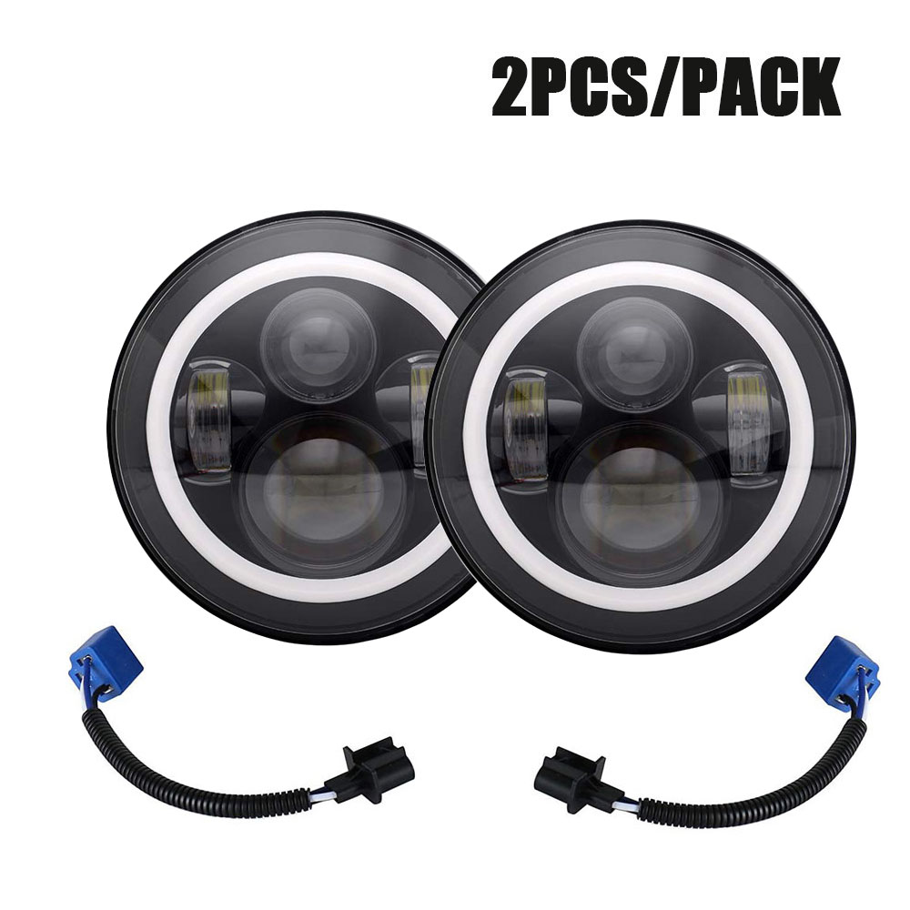 2PCS 7inch Round Led Headlight High Low Beam Light Halo Angle Eyes DRL Headlamp For Jeep