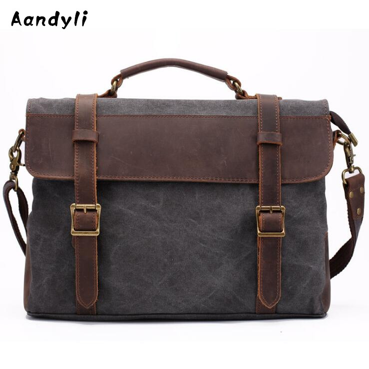 Water Wash Canvas Men Handbags Leather Crossbody Bag Large Shoulder Bag Casual Travel Messenger Bags augur men s messenger bag multifunction canvas leather crossbody bag men military army vintage large shoulder bag travel bags