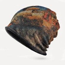 Шляпа воротник двойной с шапка шапка мужской открытый ездить бурелом печати плюс кашемир теплую шапку 0235