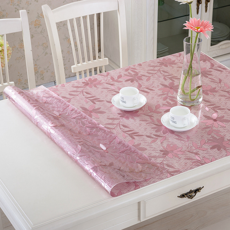 kitchen home soft glass anti scald Dining transparent crystal waterproof rectangular PVC mat cover placemat table cloth in Tablecloths from Home Garden