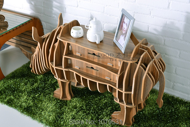 Rinoceronte Puzzle Mesa Com Gaveta Para Living Room Decor, Diy Montado  Animais Mesa, Móveis Part 86