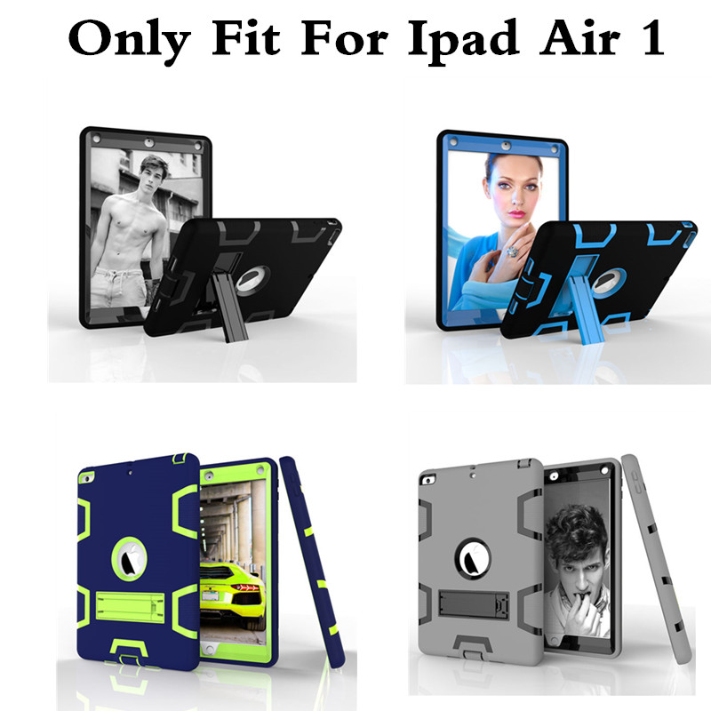 Kickstand Silicone Case for iPad Air 1 Kids Safe Cover Luxury Shockproof Protective Armor Hard Plasic Case for iPad Air1 ipad5