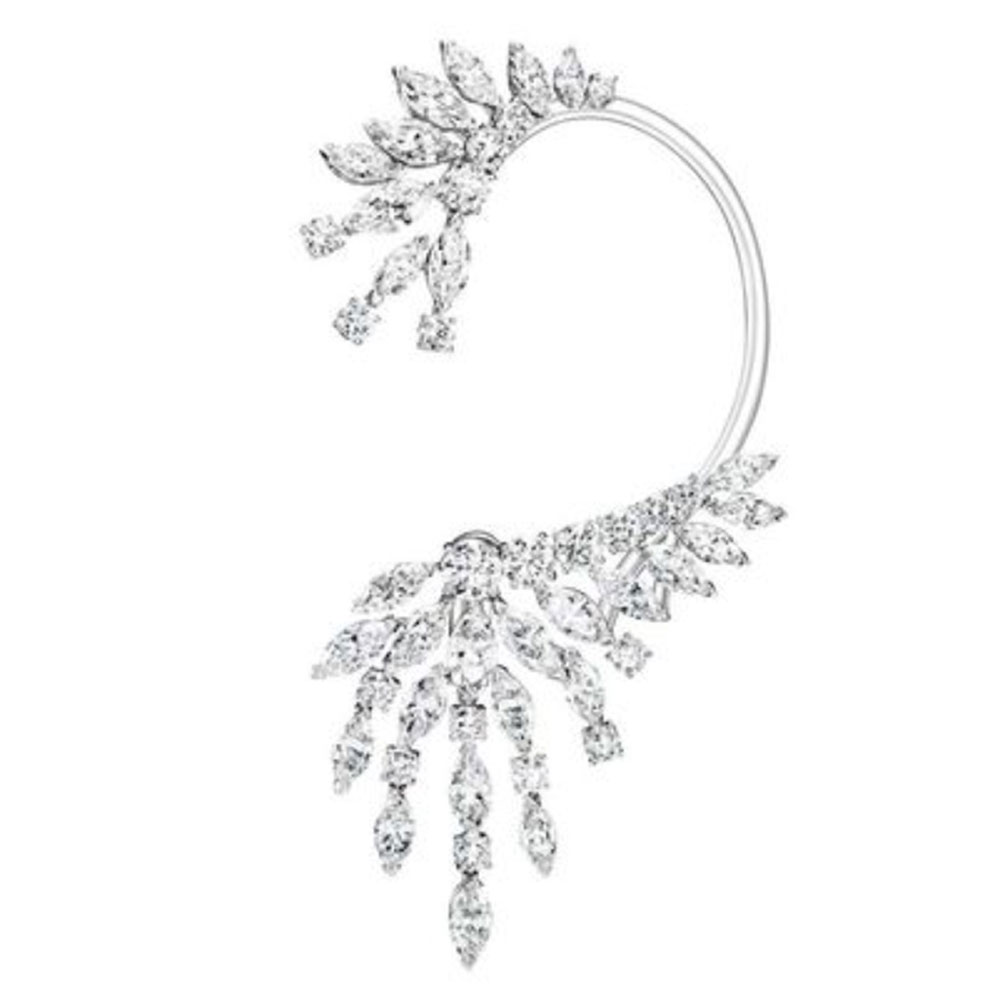 GODKI 1Piece Luxury Trendy Feather Mixed Cubic Zirconia Long Tassel Wedding Party Earring Cuff Fashion Jewelry for Women-in Drop Earrings from Jewelry & Accessories on Aliexpress.com | Alibaba Group