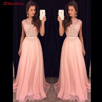 a0d24c69e0 Elegante Rosa dama de honor vestidos de largo para las mujeres del banquete  de boda gasa criada de Las Novias Vestidos