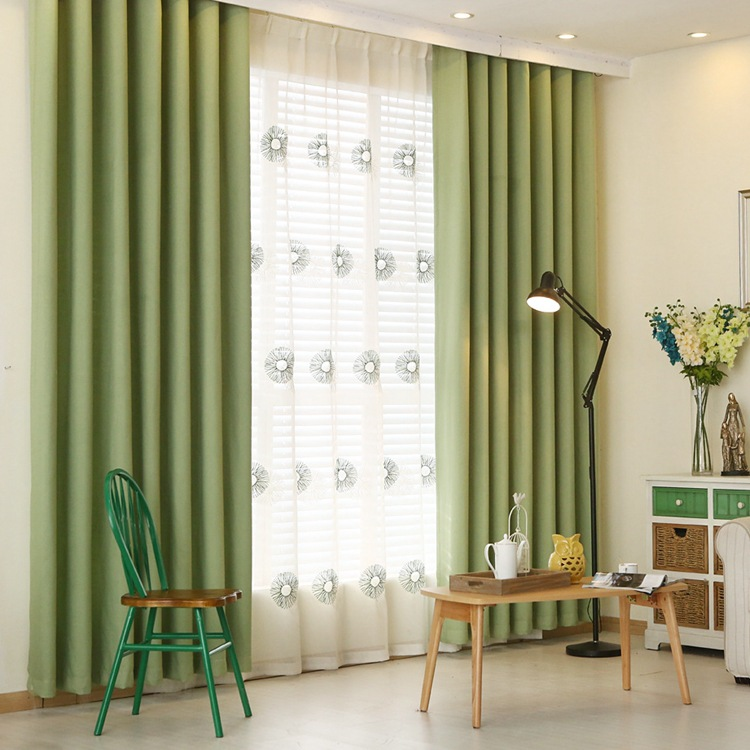 Simple Modern Solid Blackout Curtains Screens For Living