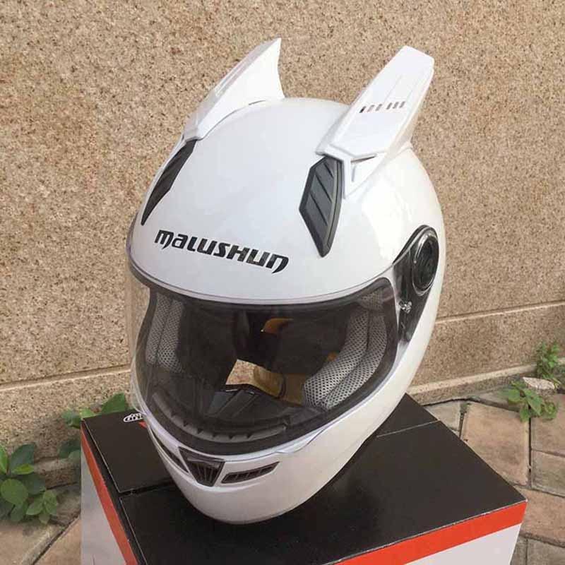 New design MALUSHUN motorcycle helmet with horns lens for option full face automobile race helmet Casco moto white and black