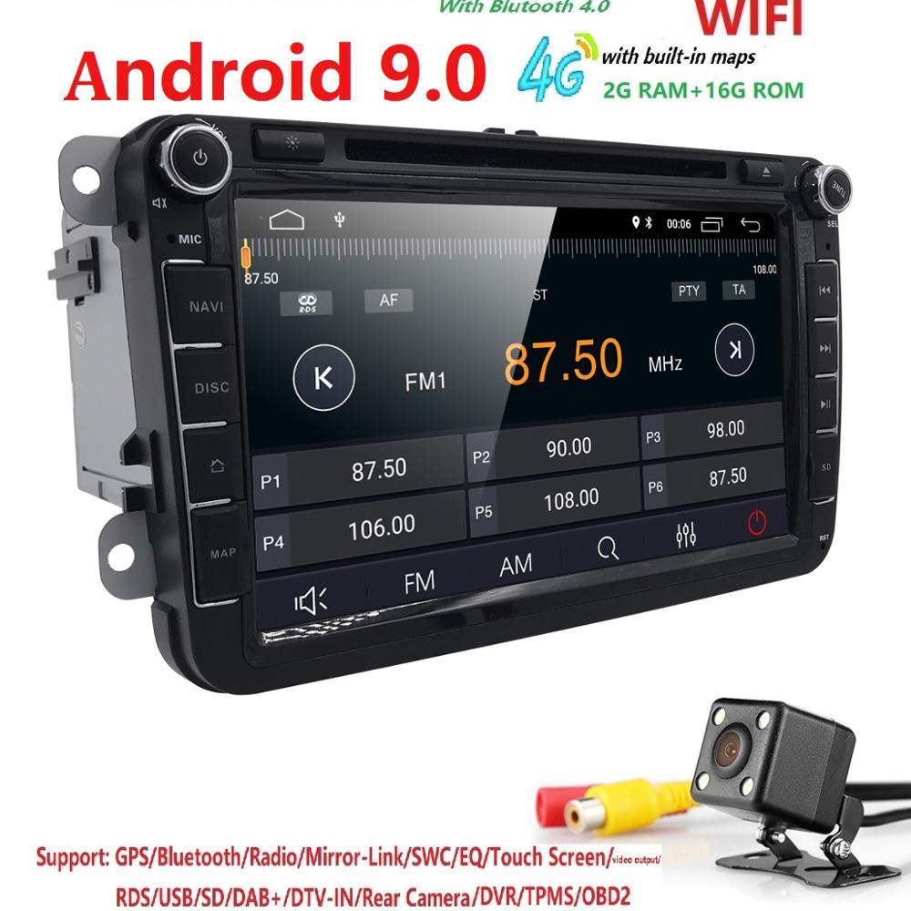 In magazzino Android 9.0 Car DVD radio per VW Volkswagen SKODA GOLF 5 Golf 6 POLO PASSAT B7 T5 CC JETT UN TIGUAN DAB + TPMS RDS OBD2