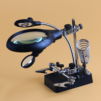 BIJI 2 5X 5X 8X Soldering Iron Stand Clamp Desktop Reparing Magnifier With 5 LED Light
