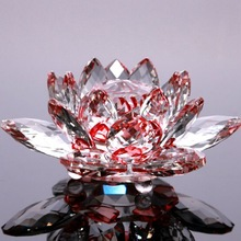 Handmade Lotus Crystal Glass Figure Paperweight Ornament Decor Collection Figurines Home Wedding Party Decor Gifts Souvenir