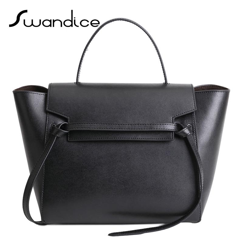 Large Capacity Women Genuine Leather Tassels Belt Handbags Messenger Crossbody Tote Shoulder Bags Commuter Office Lady Simple