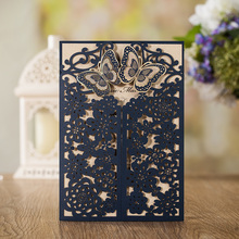 Wishmade Royal Laser Cut Wedding Invitations Card Navy blue With Gold Embossed Hollow Flora Crown Designfor Bridal Shower CW7510