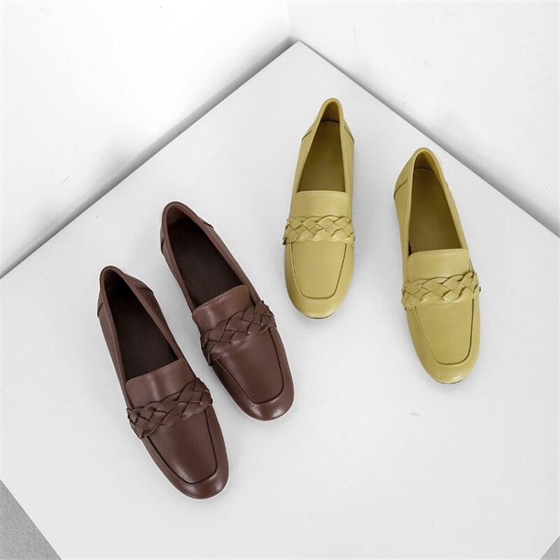 Otoño Cuero Del Slip Zapatos De Superficial Las Pie Marrón Primavera Moda Mujeres Genuino en Cuadrado Dedo Msstor Planos Concisa Oficina 2018 amarillo Nude zCwx5Pq05