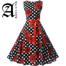 Plus Size Women Vintage Dress Robe Vestidos Hepburn 50s 60s Polka Dot Party Dresses Casual Elegant Rockabilly Pin Up Sundress sexy halter party dress 2019 retro polka dot hepburn vintage 50s 60s pin up rockabilly dresses robe plus size elegant midi dress