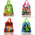 Hot Styles 12pcs Tinker Bell Childrens Drawstring Backpack Cartoon Bags,Non-Woven Fabric Bags 34*27cm Kids School Party Bags