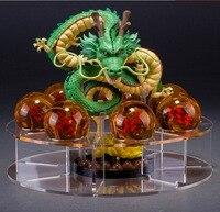 20 zestawów/partia Shenlong Shenron Figurka Dragon Ball Z Dragon Ball Set zabawki 7 SZTUK 3.5 cm Kryształ Dragonballs + Półka akrylowa