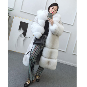 FURSARCAR Luxury Whole Skin Real Fox Fur Coat Women Natural Denmark Fox Jacket With Fur Hood 100cm Long Real Fur Outerwear