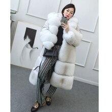 FURSARCAR Luxury Whole Skin Real Fox Fur Coat Women Natural