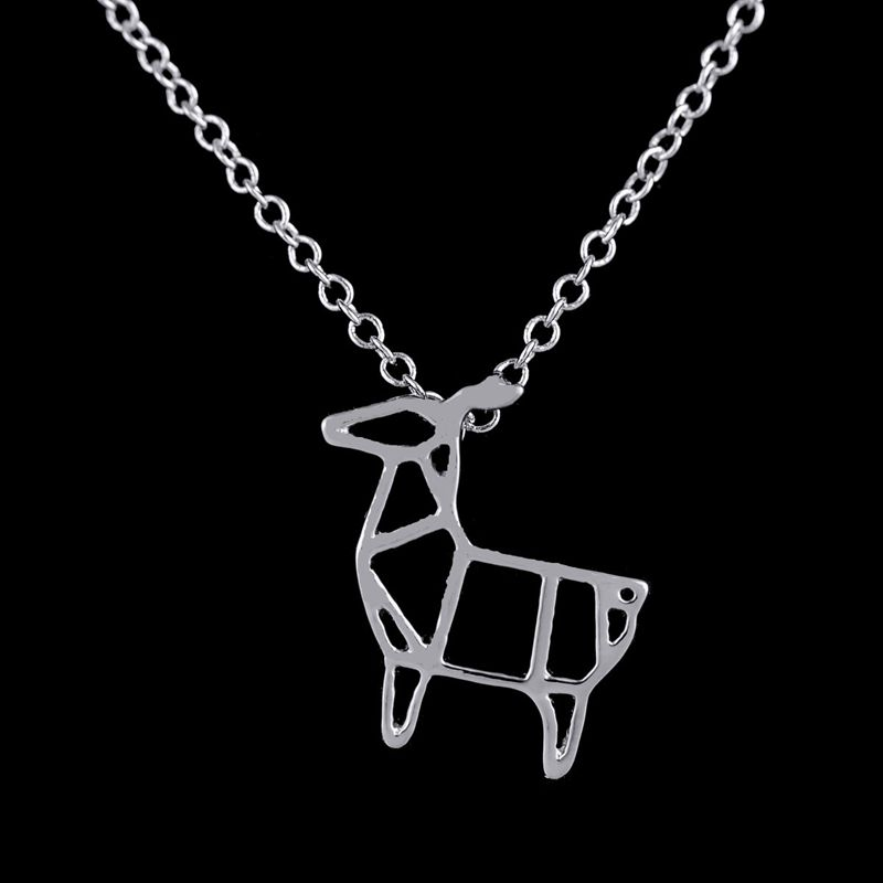 58f9a67ae626 SMJEL Wholesale Simple Necklace for Women Tiny Origami Deer Necklaces Gifts  for Girlfriend Christmas Gifts 10pcs N067-in Pendant Necklaces from Jewelry  ...