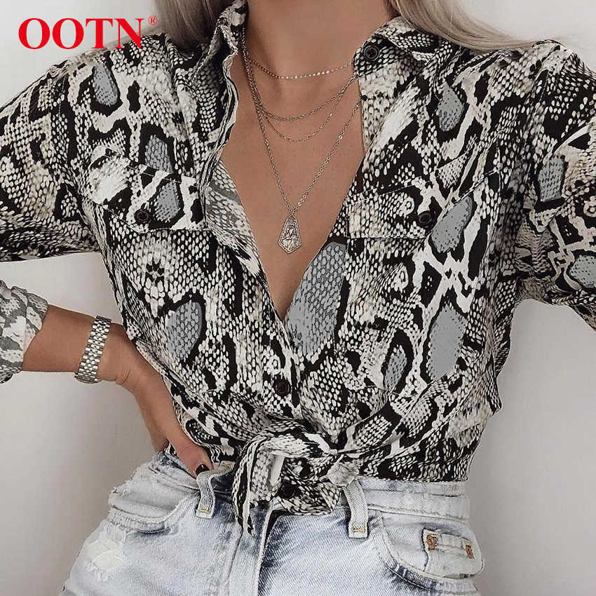 6f8c344bacf Detail Feedback Questions about OOTN Sexy Snake Skin Print Blouses And Tops  Female Shirt Womens Long Sleeve 2018 Autumn Blusas Pocket Button Down  Vintage ...