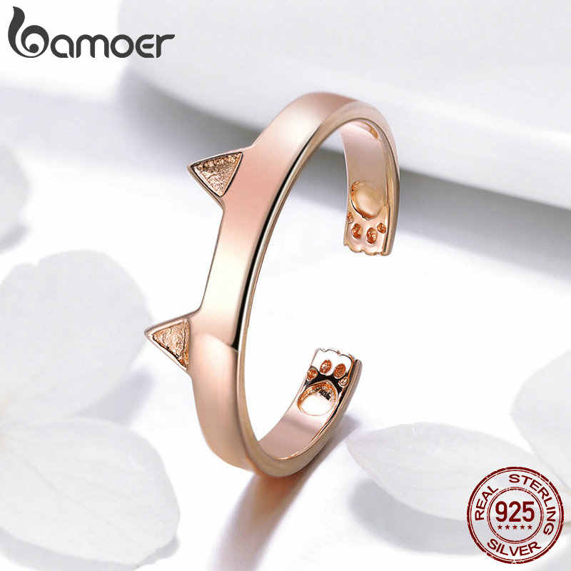 BAMOER 925 เงินสเตอร์ลิงหู Rose Gold สีหูสัตว์รูปร่างเปิด PAW แหวนงานแต่งงานเครื่องประดับ SCR387-3
